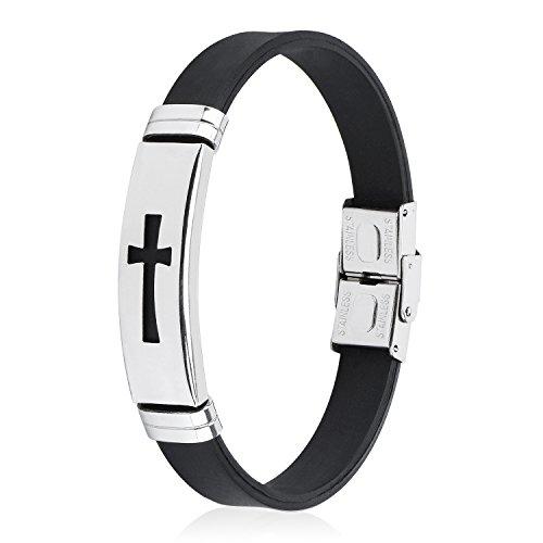 JINGCI Stainless Steel Bracelet for boys and men (Cross)