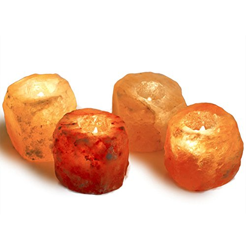 Hypnotic Gems Gallery: Pack of 4 Premium Quality Himalayan Salt Candle Holder - Natural Air Purifying Hand Carved Tealight Salt Lamp - Completely Natural Ionic Air Purifier
