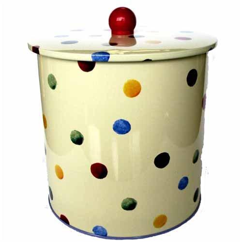 Emma Bridgewater Biscuit Cookie Jar Barrel Tin in Polka Dot Design