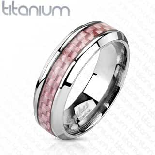 TIR-0016 Solid Titanium Pink Carbon Fiber Inlay Band Ring; Comes With Free Gift Box