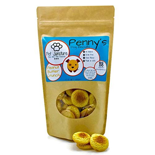 Pet Juncture Penny's Dog Biscuits, Dog Treats Made in USA, Dog Training Treats, Grain Free Dog Treats, Healthy Dog Treats, Peanut Butter Crunch, 10 OZ Bag