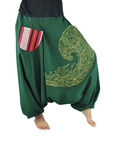 Pantalones bombachos para hombres y mujeres con impresión de alta calidad, pantalones cagados S-L de un tamaño único y pantalones hippies como ropa etnica de virblatt- Kanok Verde