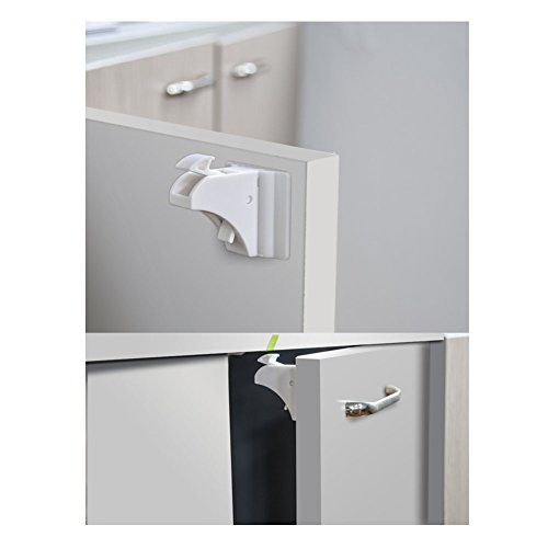 4pcs Baby Safety Magnetic Cabinet Locks with Key (White) - 4