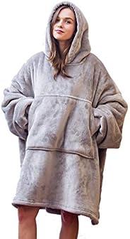 Comfortable Sherpa Flannel Fleece Sweatshirt Hoodie Blanket for Adults