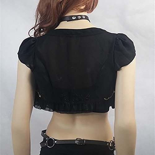 Women's Punk Waist Belt Sexy Body Chain Faux Leather Harness Adjustable with Buckles and O-Rings(N01) by Pinwe (Image #2)