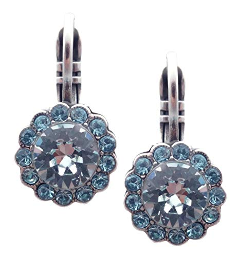 Mariana Italian Ice Swarovski Crystal Silvertone Earrings Clear & Aqua Flower Zahara 141 (Swarovski Ice Flower)
