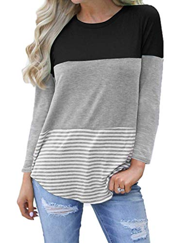 kigod Womens Looose Round Neck Back Lace Striped Tops Tee Shirts Long Sleeve Color Block T-Shirt Top Blouses (Black, Large) ()