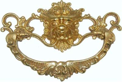 Victorian Brass Lion Head Drawer Pull Handle Centers: 3