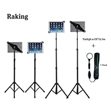 Raking Floor Height Adjustable 360 Rotating Tripod Tablet Mount Stand with Telescoping Post and Carry Case, Black (Universal IPad Tablet Tripod)