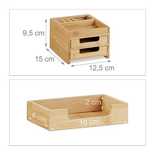 Schreibtisch Organizer Bambus Stiftehalter Holz Schreibtischbox Organisation neu