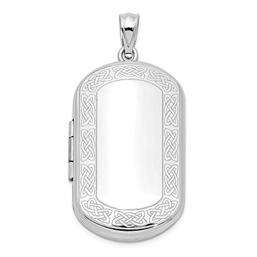 925 Sterling Silver Irish Claddagh Celtic Knot Border Rectangular Photo Pendant Charm Locket Chain Necklace That Holds Pictures Shaped Fine Jewelry Gifts For Women For Her ()