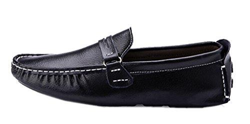 DADAWEN Men's Casual Genuine Leather Slip-On Loafer Black US Size 9