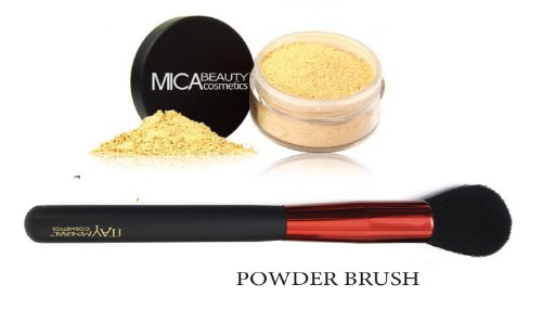 Mica Beauty(micabella) Mineral Foundation Mf-7lady Godiva for Tan Skin+ Sample Size Foundation +Wine Red High Quality Powder Brush +Sample Size