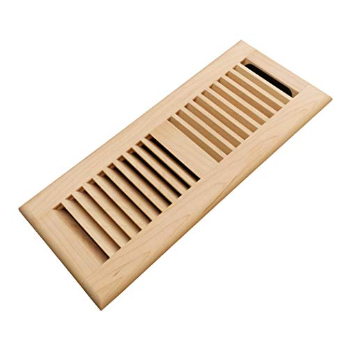 (Homewell Maple Wood Floor Register Vent Cover, Drop in Vent with Damper, 4x12 Inch, Unfinished)