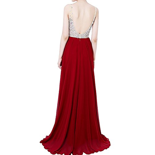 für Ballkleid Lang Abendkleider Strasssteine Silber Brautjungfernkleider Rückenfrei Damen LuckyShe Hochzeit OIqYvv