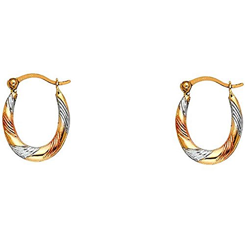- Women's 14k Tricolor Gold Fancy Hollow Hoop Earrings (0.59 in x 0.47 in)