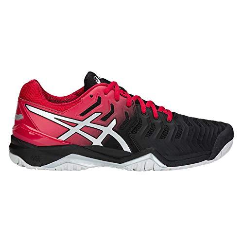 ASICS Mens Gel-Resolution 7 Tennis Shoe, Black/Silver, Size 9.5