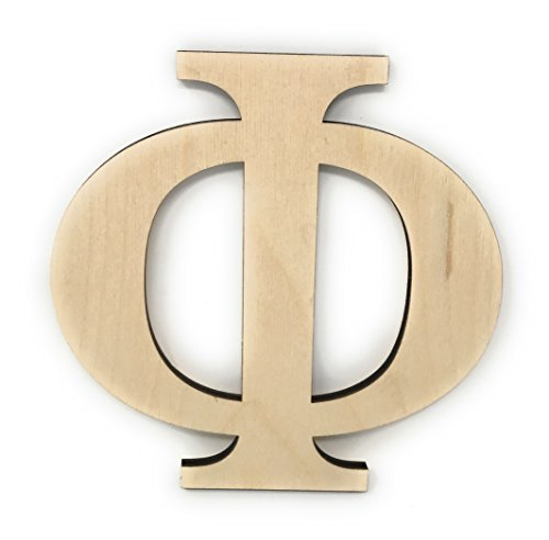 "Phi Letters - 6"" Wooden Greek Letter Phi Unfinished Greek Wooden Letters for Greek Fraternity / Sorority Paintable 6"