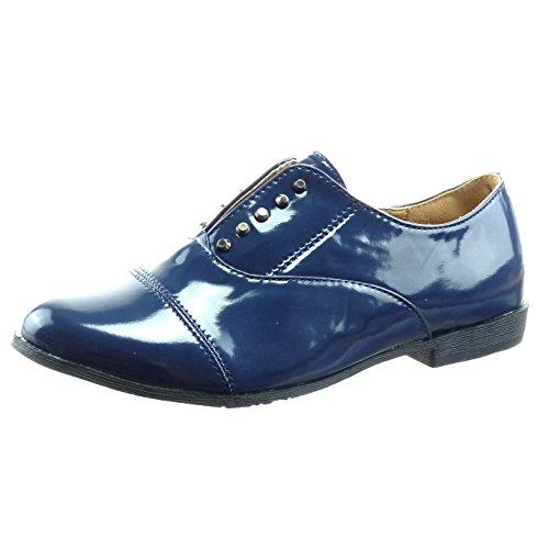 Sopily - Zapatillas de Moda Zapato acento Tobillo mujer patentes Talón Tacón ancho 2 CM - Azul