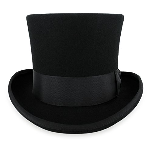 Belfry John Bull Theater-Quality Men's 100% Wool Felt Top Hat in Black X-Large -