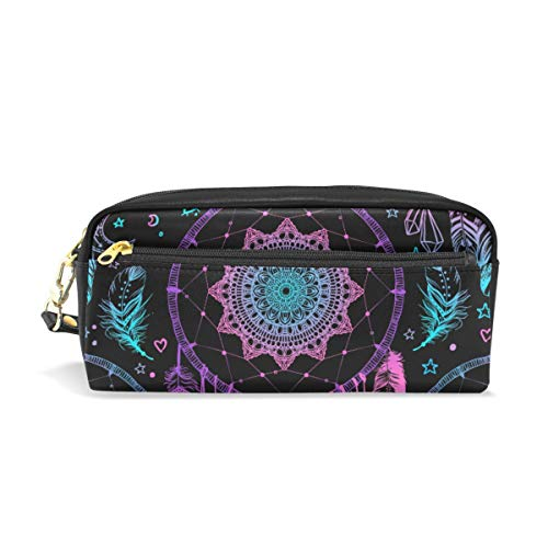 Students Pencil Case Pouch Indian Dream Feathers Purple Blue PU Leatehr Organizer Pen Holder Box Women Purse Wallet Waterproof Large Capacity Hand Mini Cosmetic Makeup Bag (Best Office Wear Lipstick For Indian Skin)
