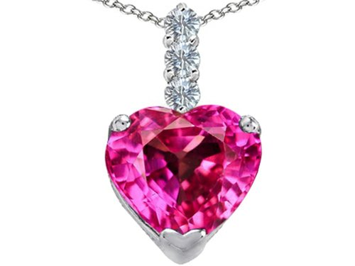 Star K Large 12mm Heart Shape Created Pink Sapphire Pendant Necklace Sterling Silver (Created Pink Sapphire Heart Pendant)