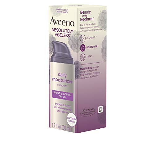 41G3jak6h5L - Aveeno Absolutely Ageless Daily Facial Moisturizer with Broad Spectrum SPF 30 Sunscreen, Antioxidant-Rich Blackberry Complex, Vitamins C & E, Hypoallergenic, Non-Comedogenic & Oil-Free, 1.7 fl. oz