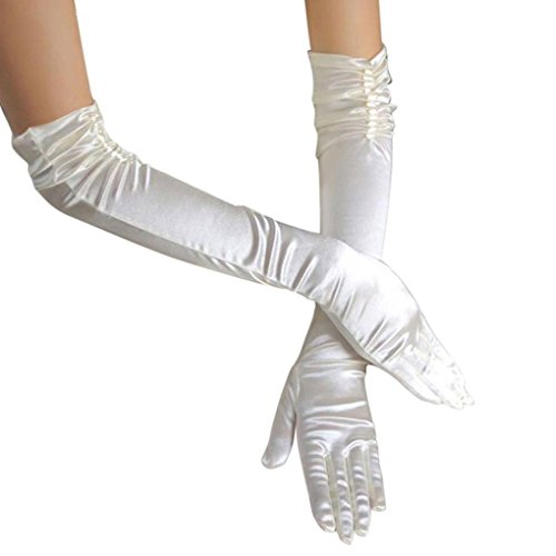 Women Ladies Fashion Elegant Stretch Plain Satin Ruched Beaded Long Gloves Full-fingered Evening Prom Wedding Gloves Beige