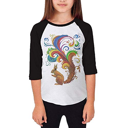 LLiYing-D Psychedelic Squirrel Teenager Girls Fashion Long Sleeve T-Shirt (Sleeve Squirrel Womens Long)