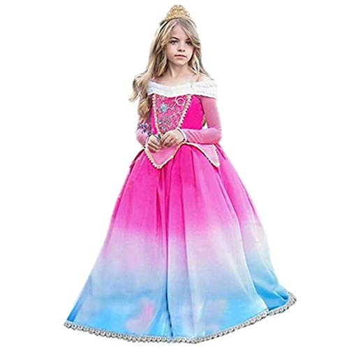 Tsyllyp Girls Princess Sleeping Beauty Costume Halloween Dress Up Gradient Color ()