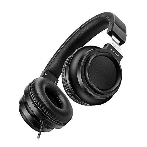 Sound Intone I8 Over-Ear Headphones with Microphone Bass Stereo Lightweight Adjustable Headsets for iPhone iPad iPod Android Smartphones Laptop Mp3 (Black) by Sound Intone