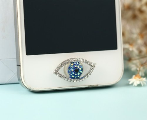 Big Mango Blue Crystal Eye Iphone Home Return Key Button Sticker / Cell Phone Charms for Apple Iphone 5 5s 5c Iphone 4 4s Ipod Touch Ipad 2 iPad 3 iPad 4 iPad Air Tablet Replace Replacement