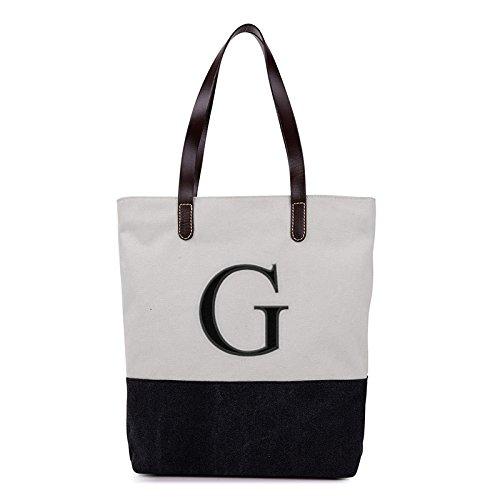 Embroidered Monogram Name Duotone Black Women Casual Canvas Shoulder Bags Bag Messenger Bag Zipper Tote Bags