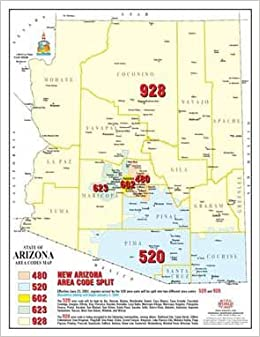 Map Of Phoenix Arizona Area.State Of Arizona Area Codes Map 50 Count Phoenix Mapping Service