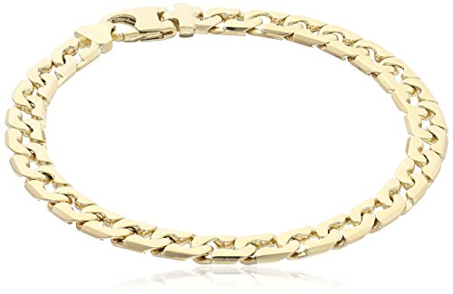 Men's 10k Yellow Gold Italian Fancy Link Bracelet, 8.5'