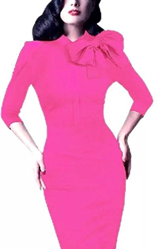 Women's 1950s Retro 3/4 Sleeve Bow Cocktail Party Evening Dress Work Pencil Dress (XXL, Pink) (Womens Cocktail Dress Pink)