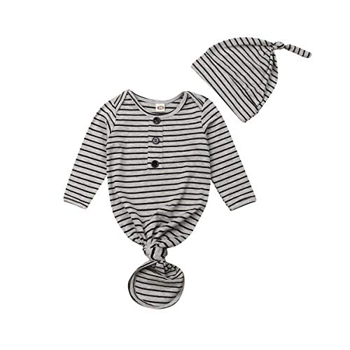- Baby Nightgown Unisex Newborn Boy Girl Sleeper Gowns Stripe Sleeping Bags Swaddle Sack Coming Home Outfit 0-12M(9-12 Months, Grey Stripe)