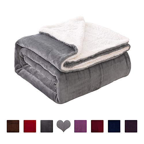 VOTOWN HOME Throw Blanket Sherpa Ultra Soft Micro-Plush Flannel Reversible Warm Blanket for Couch Fleece Blanket All Season (Light Grey,60