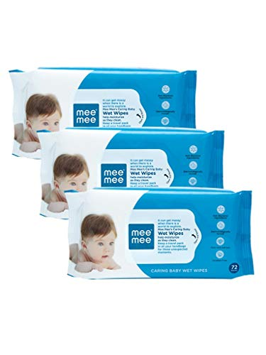Mee Mee Baby Gentle Wet Wipes   72 Pcs,Pack of 03 , Aloe Vera Hand   Mouth