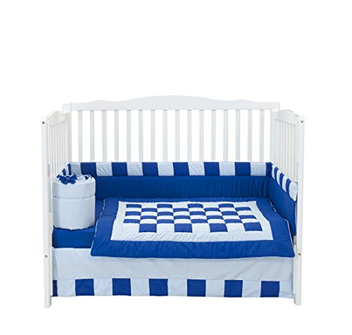 Baby Doll Bedding 4 Piece Patchwork Perfection Crib Bedding Set, Royal/Light Blue (Doll Crib 4 Piece)