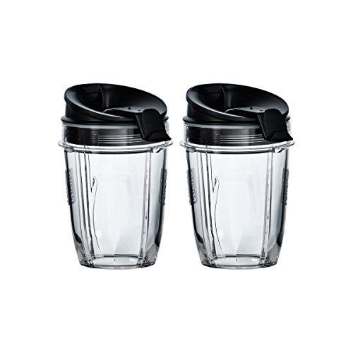 Blendin 2 Pack Small 18 Ounce Cup with Sip N Seal Flip Lids, Fits Nutri Ninja Auto-iQ 1000w Series and Duo Blenders