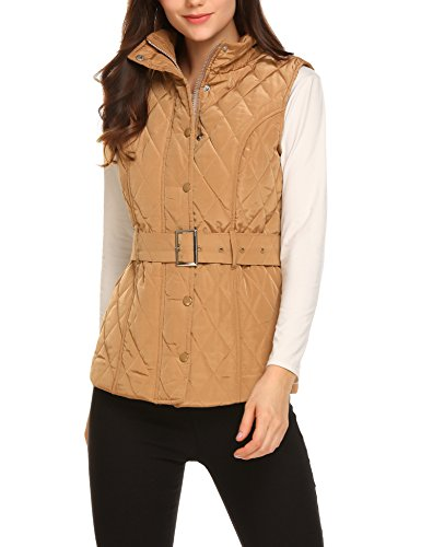 BEAUTYTALK EAUTYTALK Women's Casual Solid Quilted Padded Snap Zip Up Belted Puffer Vest