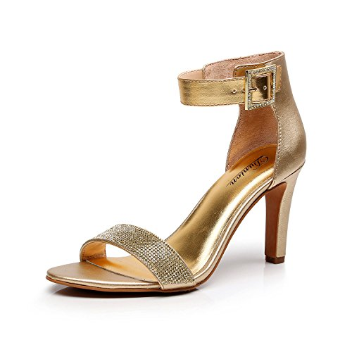 DUNION Women's Amy Rhinestone Strappy Stiletto High Heel Dress Sandal Party Prom Wedding Shoe,Gold,7.5 M US