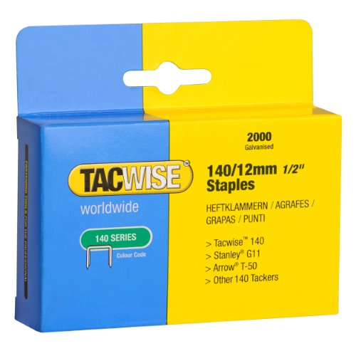Tacwise 140 1/2-Inch Galvanized Staples for Hand Tackers/Hammer Tackers, Box of 2000 (0348) (Staple Gun Tacker Hammer)