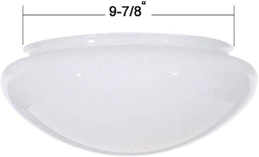 Dome Glass Shade 7-7//8-Inch Fitter Opening White Bowl