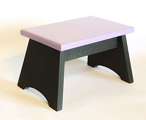 Oak step stool. Painted in charcoal grey and lilac. Wooden step stool 8 inches high, 8 x 13 inches.