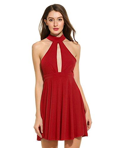 03452a24f6a5 ZEARO Damen beiläufig Ärmellos Spleiß O-Ansatz sexy rückenfrei hohl  Minikleid Rot SuArLFs2w