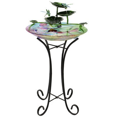 Beckett Corporation Dragonfly Birdbath Fountain with Pump, Multicolor