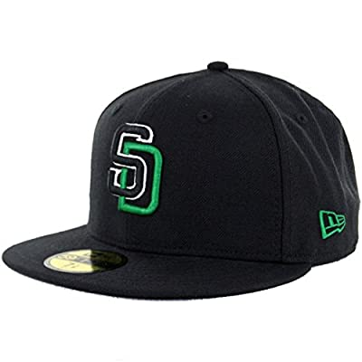 New Era 5950 San Diego Padres Fitted Hat BK BK WH KG (Black/Green) Men's MLB Cap