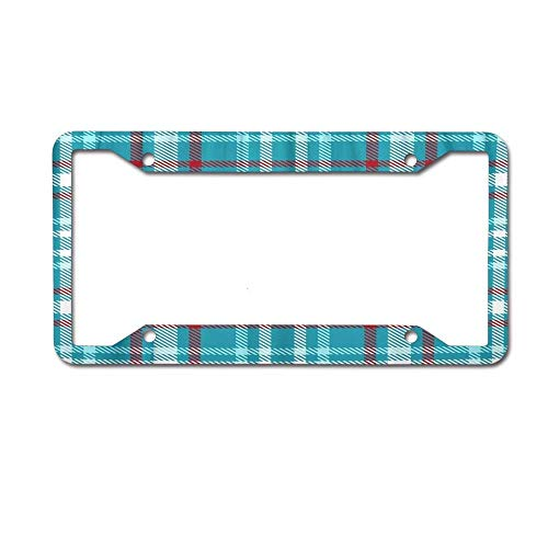 Racing angel Metal License Plate Car Decoration- License Plate Frame Tag(12X6) Turquoise Blue Red and White Color Tartan Checkered Plaid Geometrical Simple Shorts Dress Check